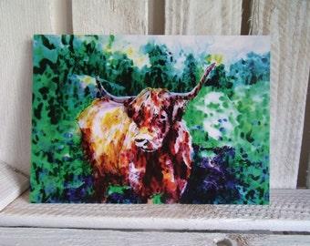 Highland Cow Greeting Card - Scottish - Blank - Heilan Coo