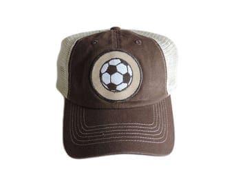 Brown Soccer Theme Baseball Cap