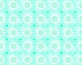 Flower Tonal Aqua Pink Jason Yenter Treasures of Nature 8TNA-2 - quilting cotton woven fabric floral blender