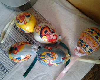 Vintage Handmade Paper Mache with Transfers Hanging Eggs - Set of Six