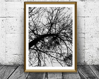 Tree Print, Abstract Wood Print, Jackson Pollock Style Print, Black White Print, Modern Wall Prints, Printable, Home Decor, Instant Download