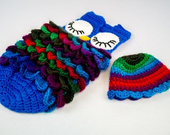Newborn Baby Owl Cocoon with matching hat, Blue and Rainbow