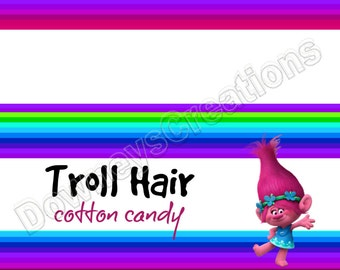 TROLLS/Troll Hair Cotton Candy/Treat Bag Toppers/Snack Bag/Sandwich Bag Topper/Tags/Instant Download/Printable PDF
