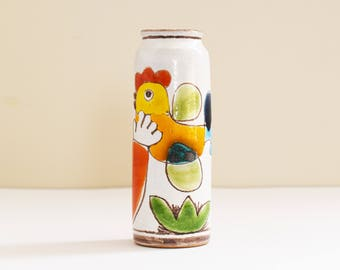 Mid Century little Terra Cotta Desimone Vase - Bud vase - Hand Painted - Marked / Stamped - Made In Italy