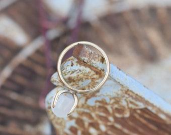 10 Karat Yellow Gold Vintage Gumdrop Gemstone Gypsy Ring, US Size 6.75 , Used Vintage Jewelry, Boho Hippy