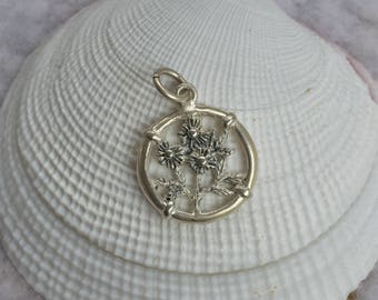 Flower Vintage Silver 925 Charm, Mother's Day Gift - FREE SHIPPING within USA