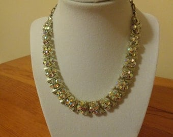 Lisner mid century Aurora Borealis adjustable choker necklace