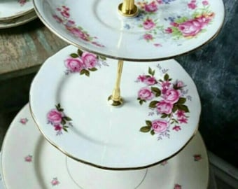 Vintage 3 tiered cake stand. cake plates. pink roses. Wedding decor. Tea party. Garden party. Tea set. Biscuit/pastry stand.