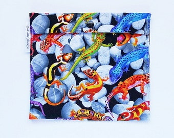 Sandwich and snack - large - lizards colorful - reusable bag - Zero waste