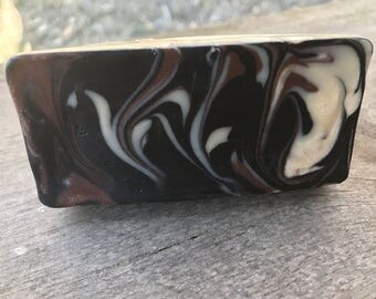 Unscented Handmade Beer Soap made with Vanilla Porter Beer, Sweet Almond Oil and Activated Charcoal
