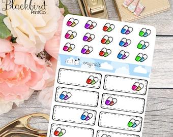 Pills - Vitamins - Medication - Hand Drawn Planner Stickers [FR0002]