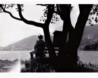 Vintage 60s Mid Century Black & White Photo Snapshot European Travel Landscape Lake Scene Lake Como Italy