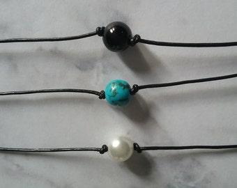 pearl choker, single pearl choker, pearl bead choker, black cord pearl choker, dainty pearl choker, basic pearl choker, simple pearl choker