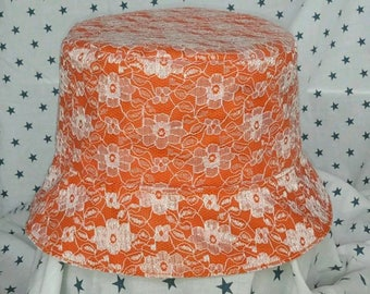White and orange lace Bucket hat, Sun hat. Holiday hat. Vacation hat.