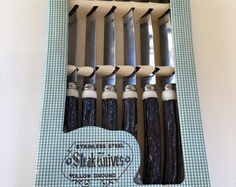 Vintage Faux Antler Bakelite Stainless Steel Steak knives with box, Set of Six Steak Knives, 70's Steak Knives