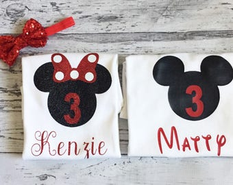 Black and Red Personalized Minnie Mouse and Mickey Mouse 3rd Birthday Shirts, Twins Birthday Shirts Disney Brother and Sister Shirts Party