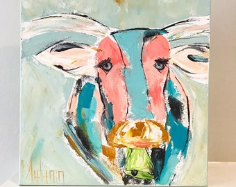 Cow Painting . Cow Art . Animal Art . Abstract Cow Painting . Palette Knife Painting . Farm Animal Art . Farmhouse Style