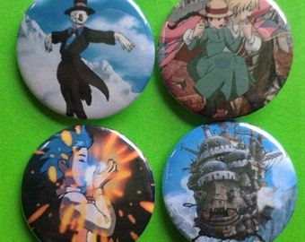 Set of 4 25mm Howl's Moving Castle badges