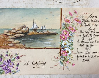 Cursive Handwritten Poem on Card * Antique French Postcard