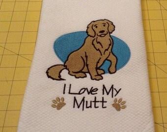 I Love My Mutt Martha Stewart Collectible Embroidered Kitchen Hand Towel 100% cotton, 20 x 30