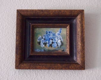 Original Oil Painting: Lilacs Still Life in Wood Frame