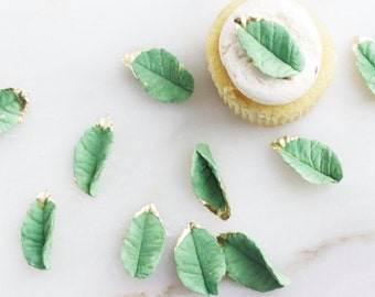 Gum paste Leaves, Cupcake Toppers, Sugar Leaves, Edible Sugar Leaves, Gold Sugar Leaves, Weddings, Decoration, Showers, Celebration