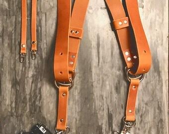 Dual Camera Harness Real Leather Multicamera Strap Tan