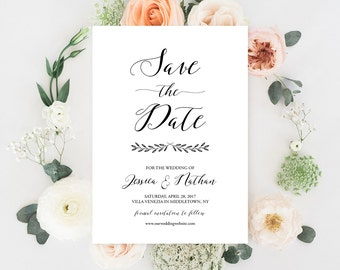 Save the Date Card Template, Printable Wedding Date Card, Rustic Calligraphy, Instant Download, Editable PDF Template, Digital #024-116SD