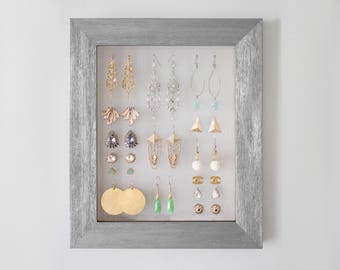 Framed Wood Grain Earring Hanger