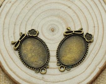 8pcs Antique Bronze girlycabochon base Charm / accessory DIY 18*25 mm (505-35)