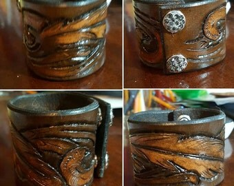 Hand Tooled Leather Cuff Feather Bracelet