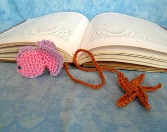 Crocheted bookmarks, bookmark, bookmarks, fish, handmade, OOAK, handmade, unique pink,