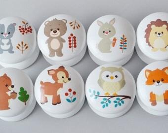 Forest Animals Drawer Knobs, Drawer Pulls, Dresser Pulls, Children's Room, Nursery Decor, Nursery, Woodland, knobs, Kids Knobs, Handles.