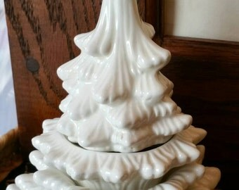 Vintage White Creamic Christmas Tree table lighter with stackable Ashtrays