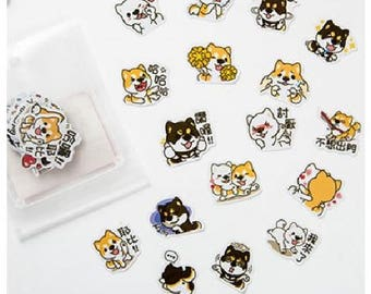 Stickers cute little shiba dogs