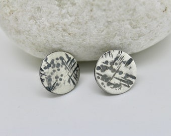 Hammered silver studs, oxidised silver studs, small silver circle studs,square studs, large round silver studs, rustic handmade silver studs