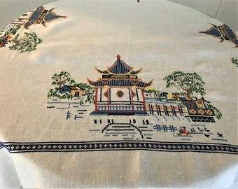 Tablecloth, Vintage Linen Tablecloth With Buddha Temple Embroidery. Retro Embroidered Tablecloth, Buddha Temple Embroidery