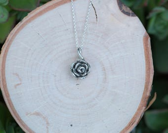 Rose Pendant, Single Rose Sterling Silver Necklace