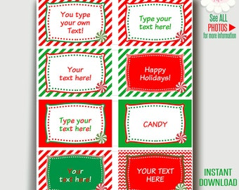 Christmas labels, Holiday party labels, Printable template, instant download Self Editable PDF File A223