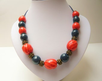 """Necklace with pearls ceramic """"fall light"""""""