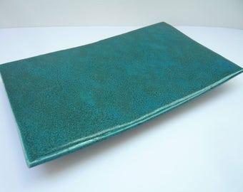 Small flat rectangle Blue ceramic presentation