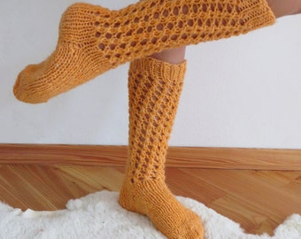 Long Orange Socks, Long  Wool Socks, Hand Knit Socks, Woolen Socks, Womans Socks, Knee Length Socks, Warm Winter Socks, Best Womens Gift