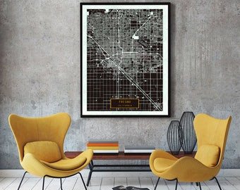 FRESNO California City Map Fresno California Art Print Fresno California poster Fresno California map art United States of America Jack