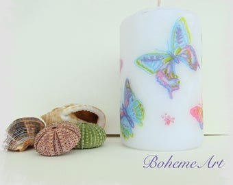 Butterflies decoupaged candle, decoupage on candle with butterflies design, butterflies on candle