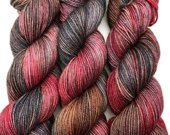 "Hand Dyed Yarn ""Bluebeard at Night"" Blue Purple Brown Red Grey Merino Cashmere Silk Sportweight SW 300yds"