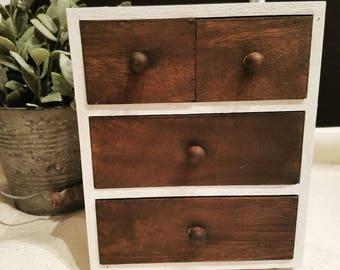 Mini Wooden Dresser - Handmade, Storage, Jewelry Box, Home Decor