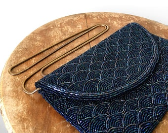 Vintage, Midnight, Blue, Scalloped Pattern, Beaded, Evening, Bag, Purse with Antiqued Gold Chain Strap