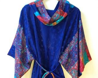 Vintage 1970s Boho Caftan Kimono Dress