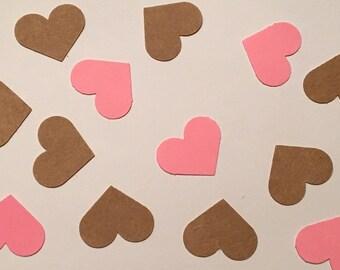 200 Heart Confetti Shower Confetti Kraft Confetti Pink Heart Confetti Birthday Confetti Rustic Wedding Rustic Shower Rustic Confetti