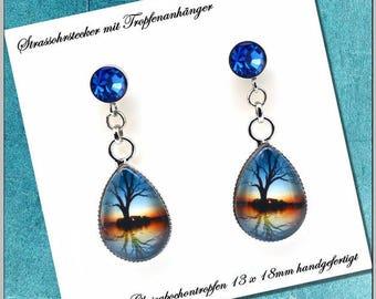Earrings drop 13 x 18 mm cabochon jewelry shadow tree